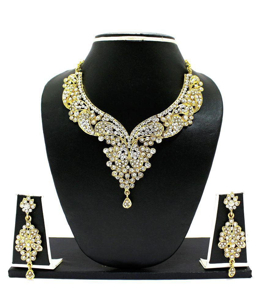 Zaveri Pearls Just Like Diamonds Golden Alloy Choker Festive Necklace Set