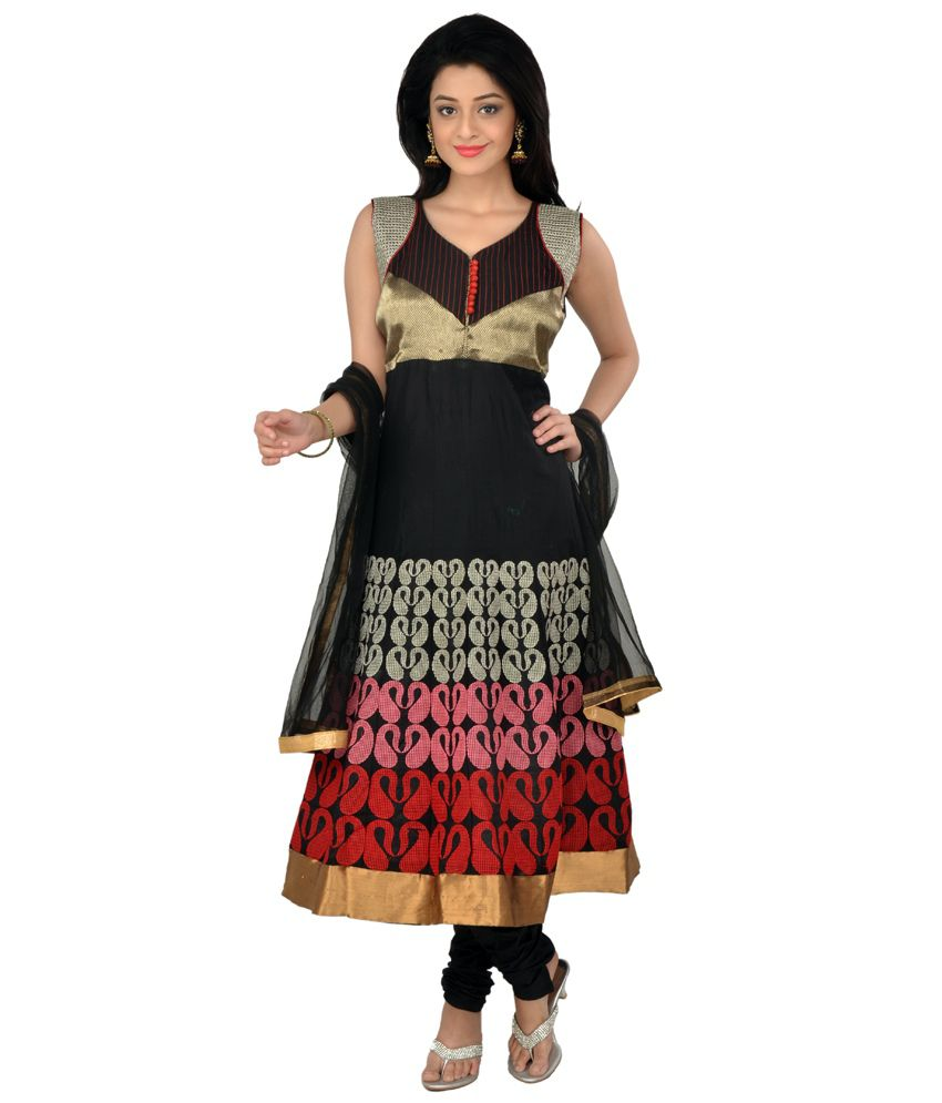 Manavi Circle Black Cotton Embroidered Anarkali Suit