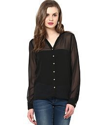 La Zoire Black Poly Georgette Shirts