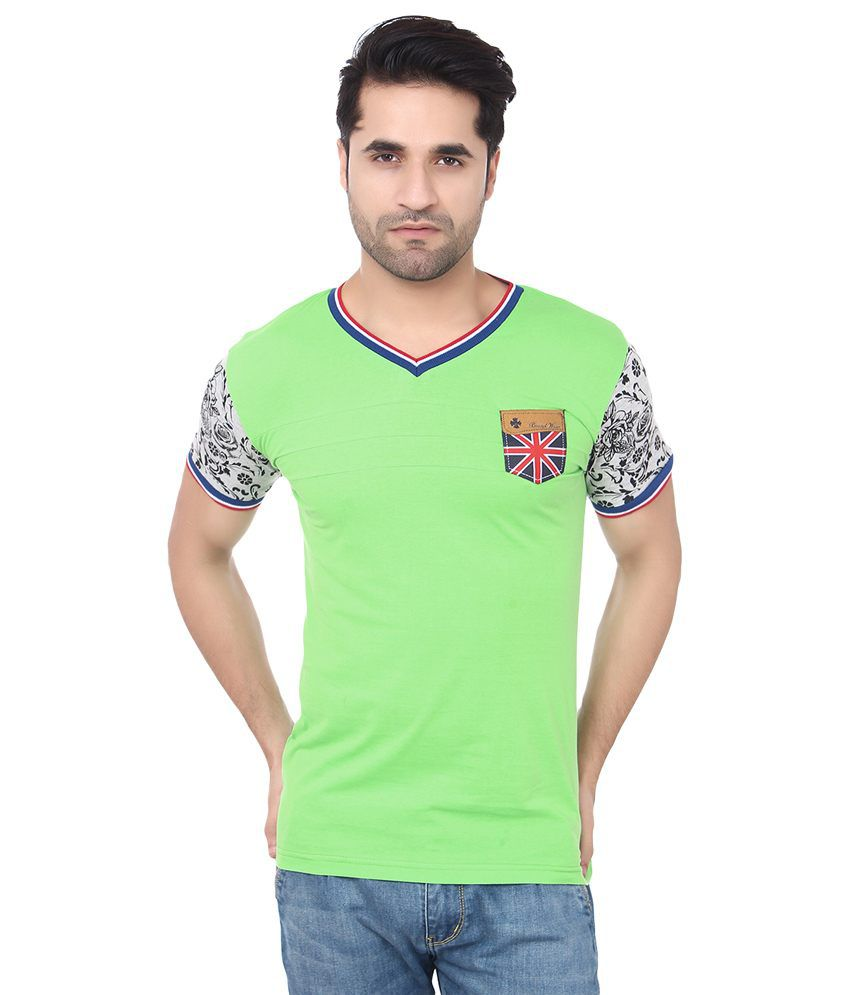 Buff Green Cotton Printed Solid Grace Stretchable T Shirt