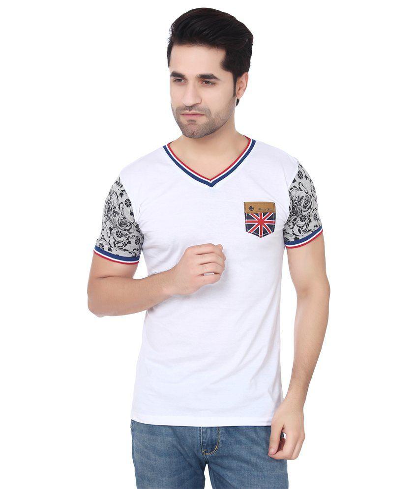Buff White Cotton Printed Basic Grace Stretchable T Shirt