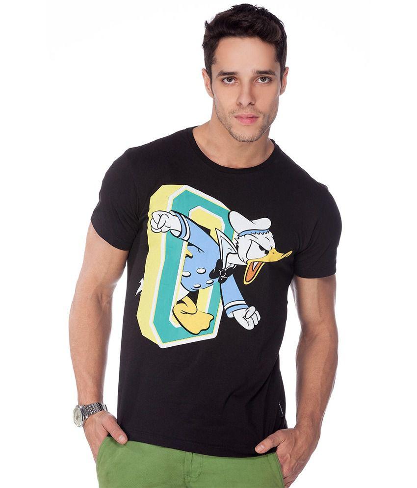 Disney Black Cotton Round Neck T Shirt