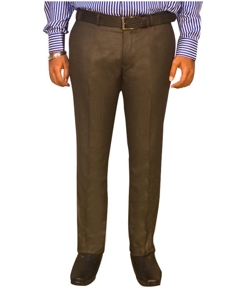 Kinger Dark Brown Slim Fit Formal Trouser