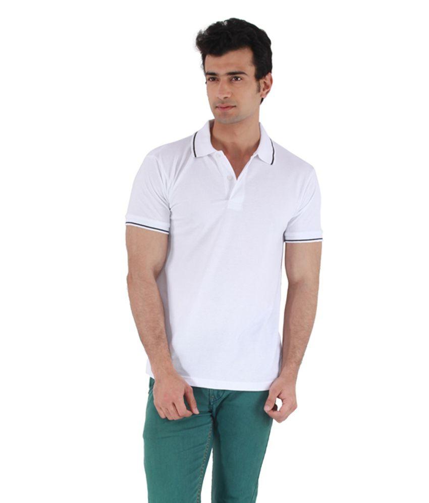 Mudo White Cotton Half Henlay T shirt