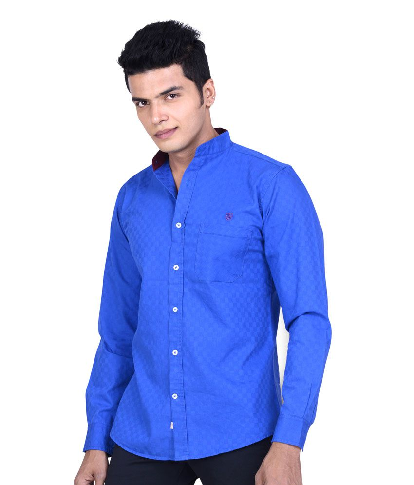 2bdf18a09 SPEAK Royal Blue Satin Self Checks Cotton Mandarin Collar Shirt - Buy SPEAK Royal  Blue Satin Self Checks Cotton Mandarin Collar Shirt Online at Best Prices  ...