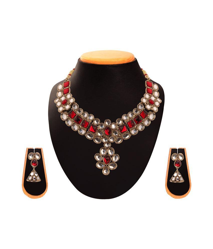 Vaishali Bindi and Bangles Red Traditional Necklace Set