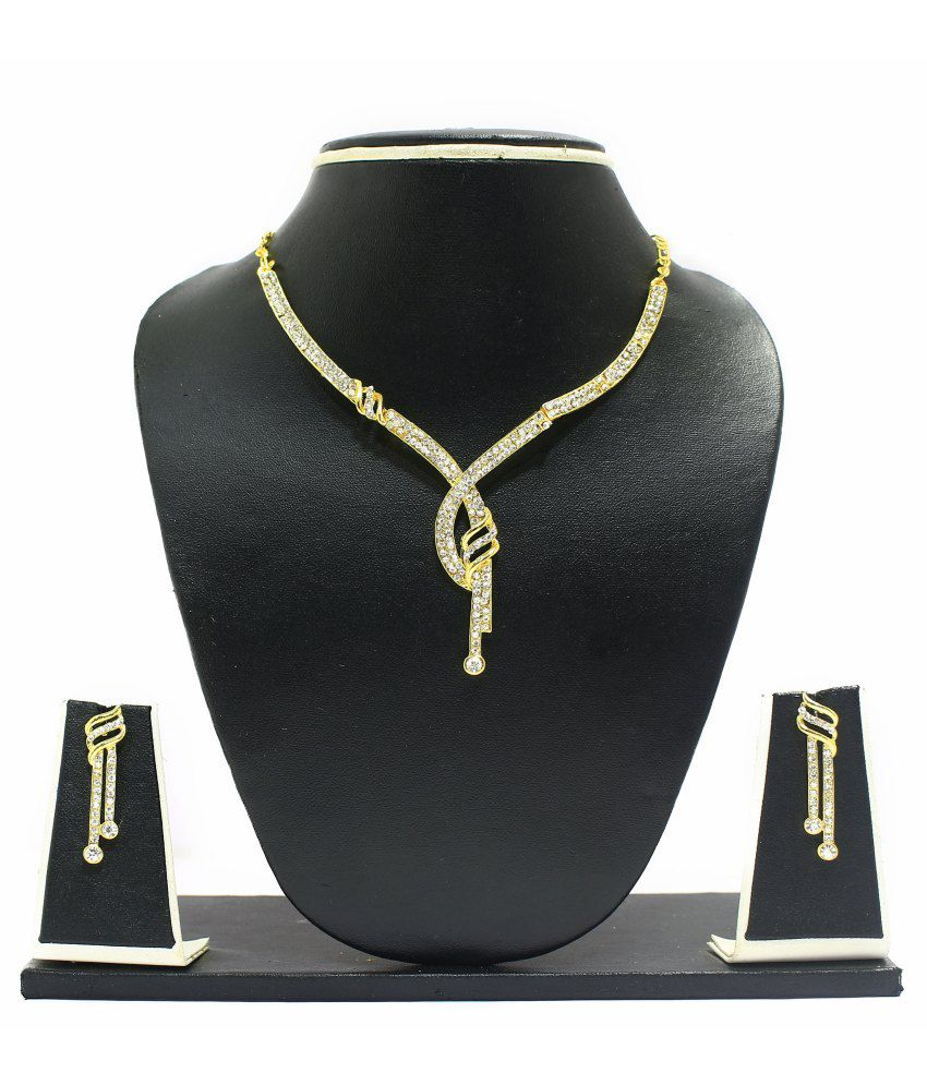 Zaveri Pearls Elegant Austrian Diamond Necklace Set