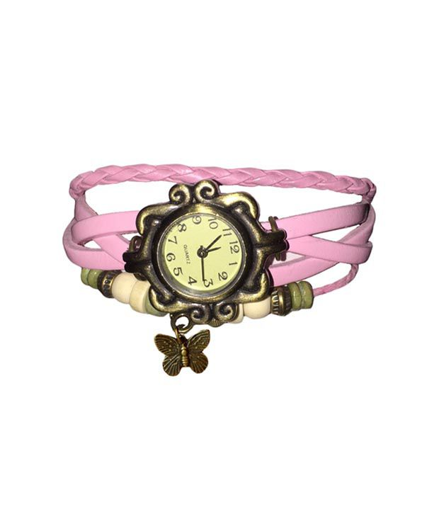 Cilevr Genuine Leather Bracelet Vintage Butterfly Women Wrist Watch Pink