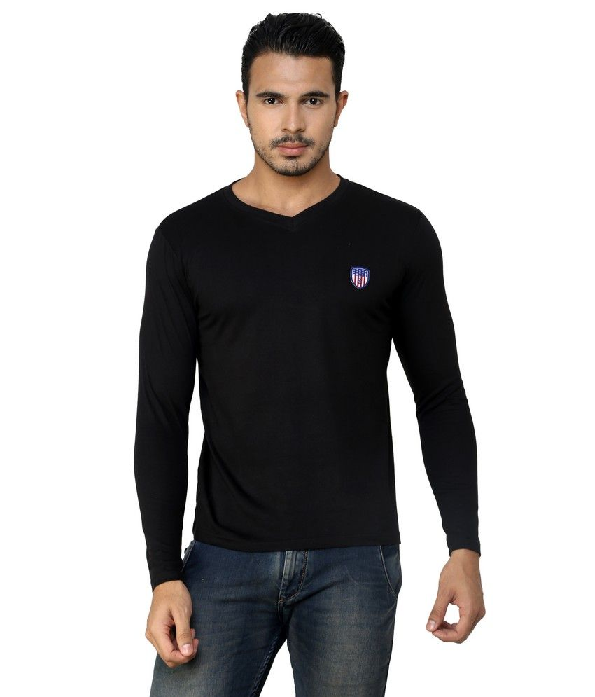 Free Spirit Black Cotton V-neck T-shirt