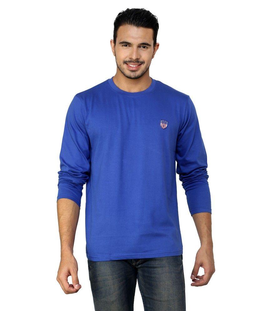 Free Spirit Blue Cotton Round Neck T-shirt