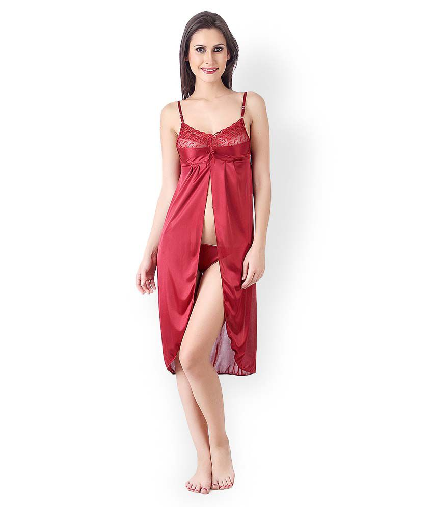 buy klamotten maroon satin baby doll dresses online at best prices in india snapdeal. Black Bedroom Furniture Sets. Home Design Ideas