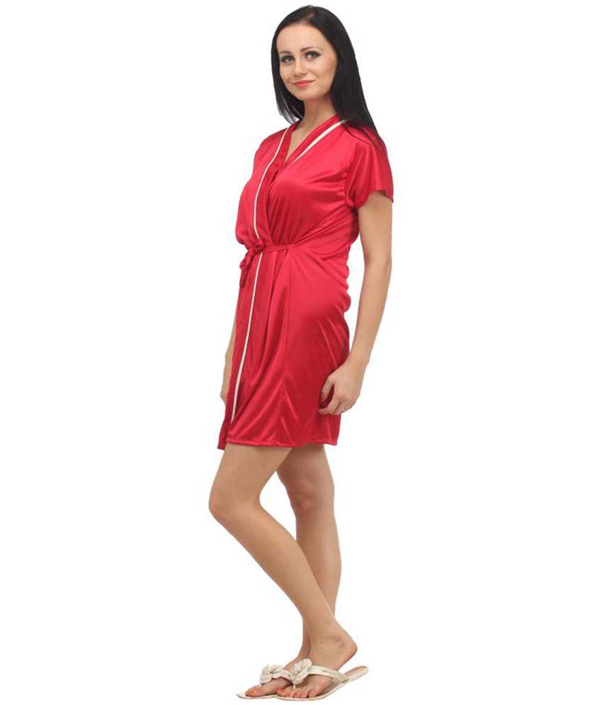 Buy Klamotten Red Satin Robe Online at Best Prices in India - Snapdeal 89687e453