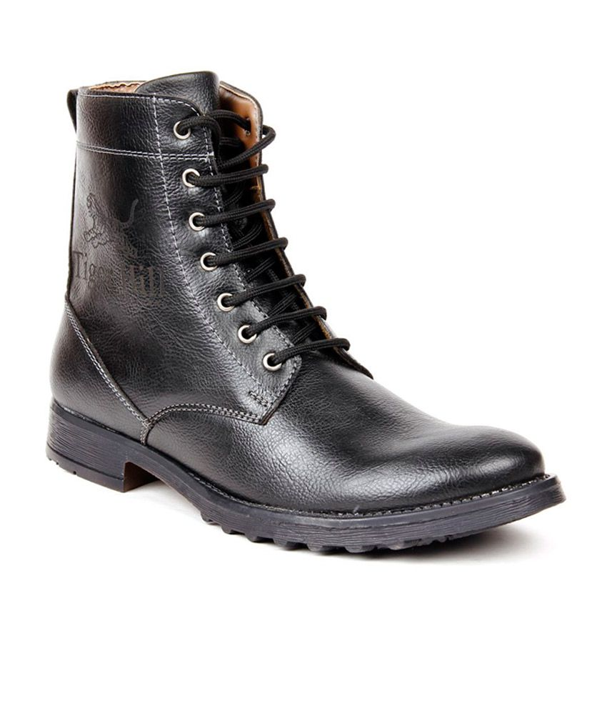 Sam Stefy Black Synthetic Leather Boots