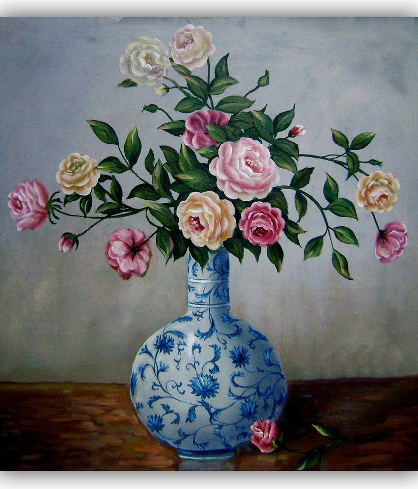 Vitalwalls Oil Painting Flowers In Chinese Blue And White ...
