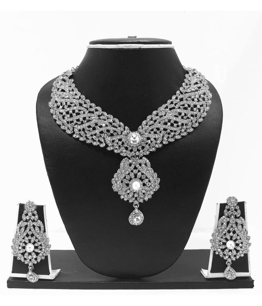 Zaveri Pearls Graceful Diamond Necklace Set