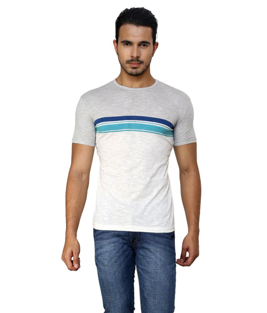 Ebry White Cotton Half Sleeve T-Shirt