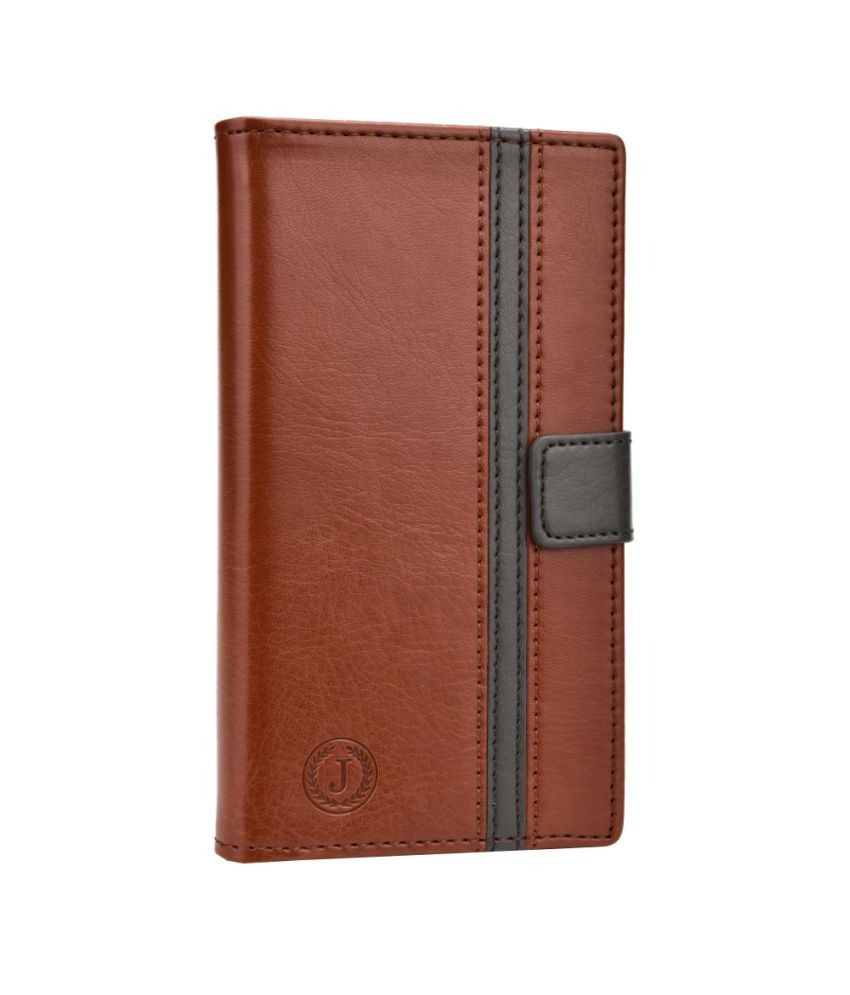 Jo Jo Pluto Series Leather Flip Case Cover For Lenovo A390 Dark Brown Grey available at SnapDeal for Rs.390