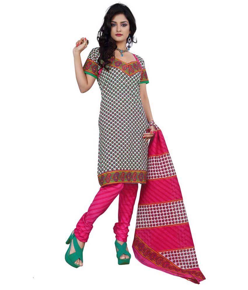 Minu Suits Multicoloured Cotton Unstitched Dress Material