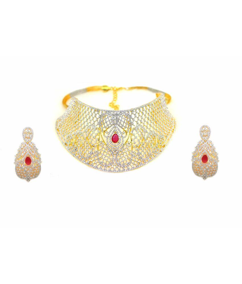 376fe6bf25 Zaveri Pearls Grand American Diamond Necklace Set For Women - Buy Zaveri  Pearls Grand American Diamond Necklace Set For Women Online at Best Prices  in India ...