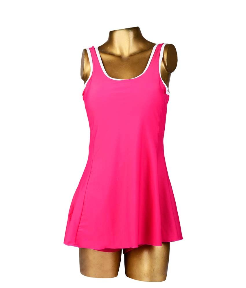 Indraprastha Magenta Plain With White Sleeve Border Swimsuit/ Swimming Costume