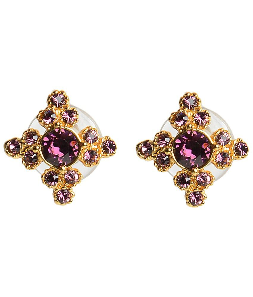 Voylla Purple & Golden Spin Crystal Stud Earrings