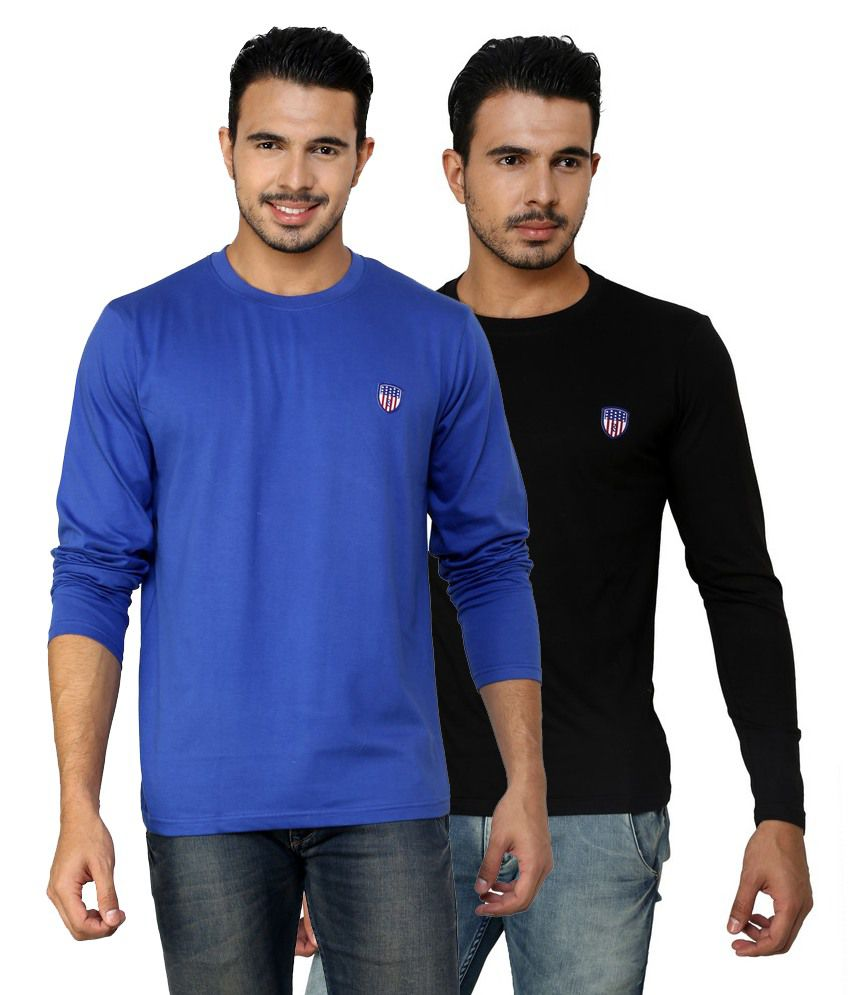 Free Spirit Solid Black and Blue Full Sleeve T-Shirt Combo