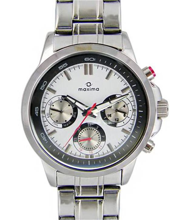 Maxima Decent White & Silver Analogue Wrist Watch For Men