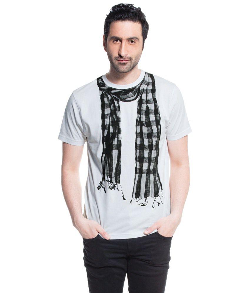 Zovi White Scarf Printed T Shirt