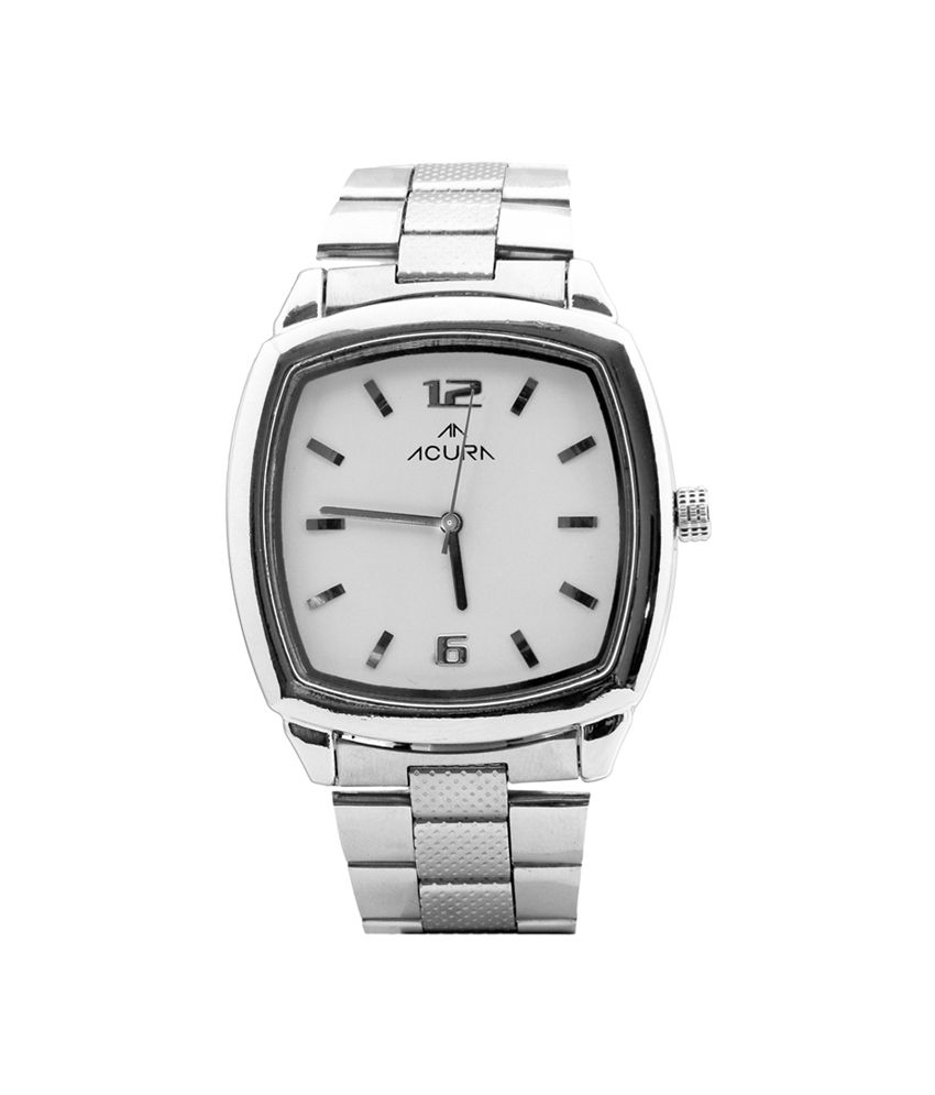 Acura White Stainless Steel Square Quartz Formal Watch