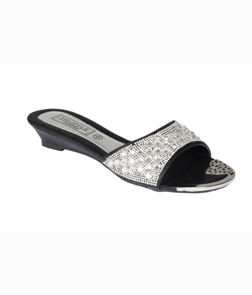 Truffle Collection Black Ethnic Heeled Slip On