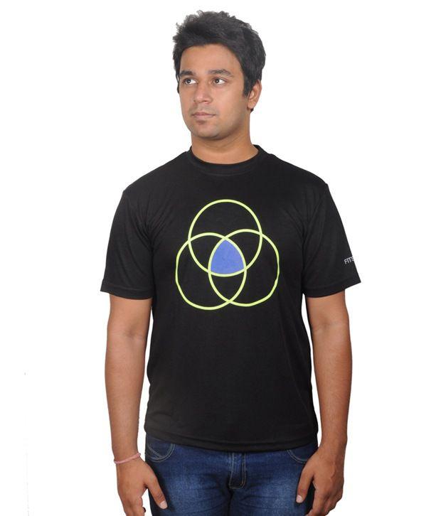 Fitsoul Black Polyester T-shirt