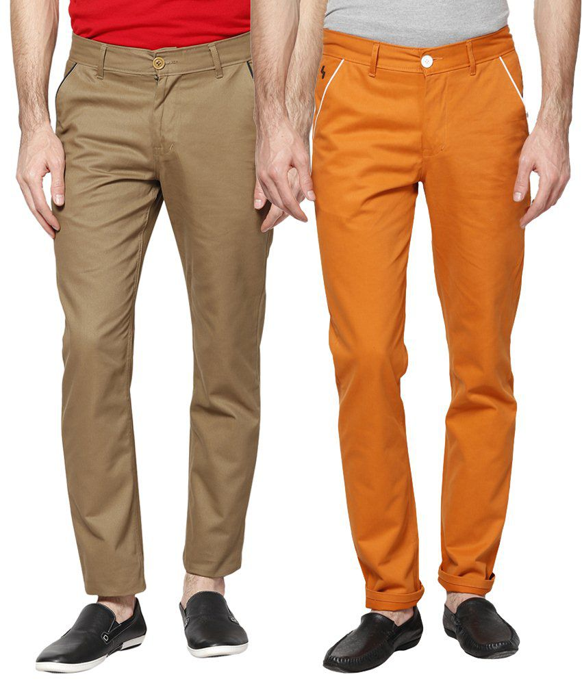 Haute Couture Combo Of Charming Brown & Orange Chinos
