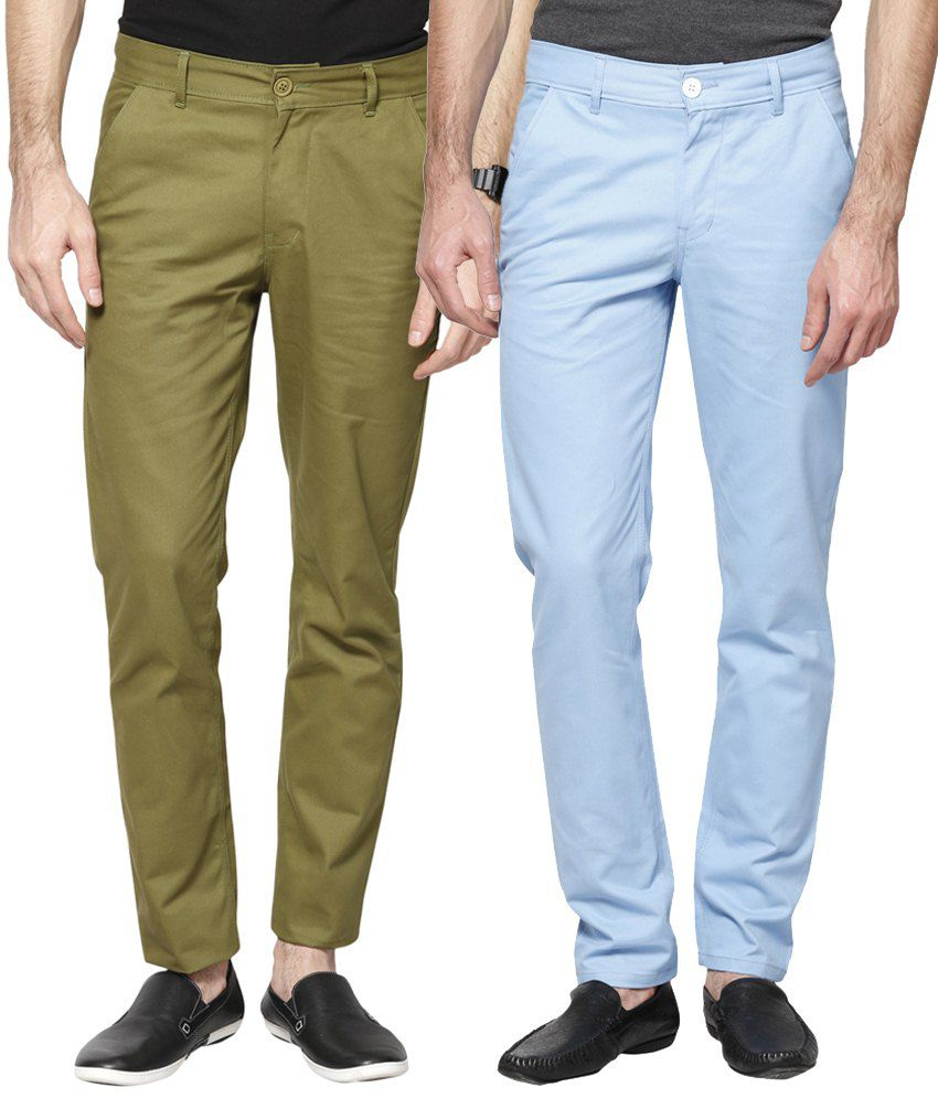 Haute Couture Combo Of Green & Blue Chinos