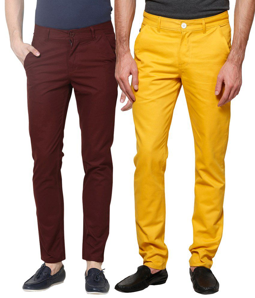 Haute Couture Combo Of Maroon & Yellow Chinos