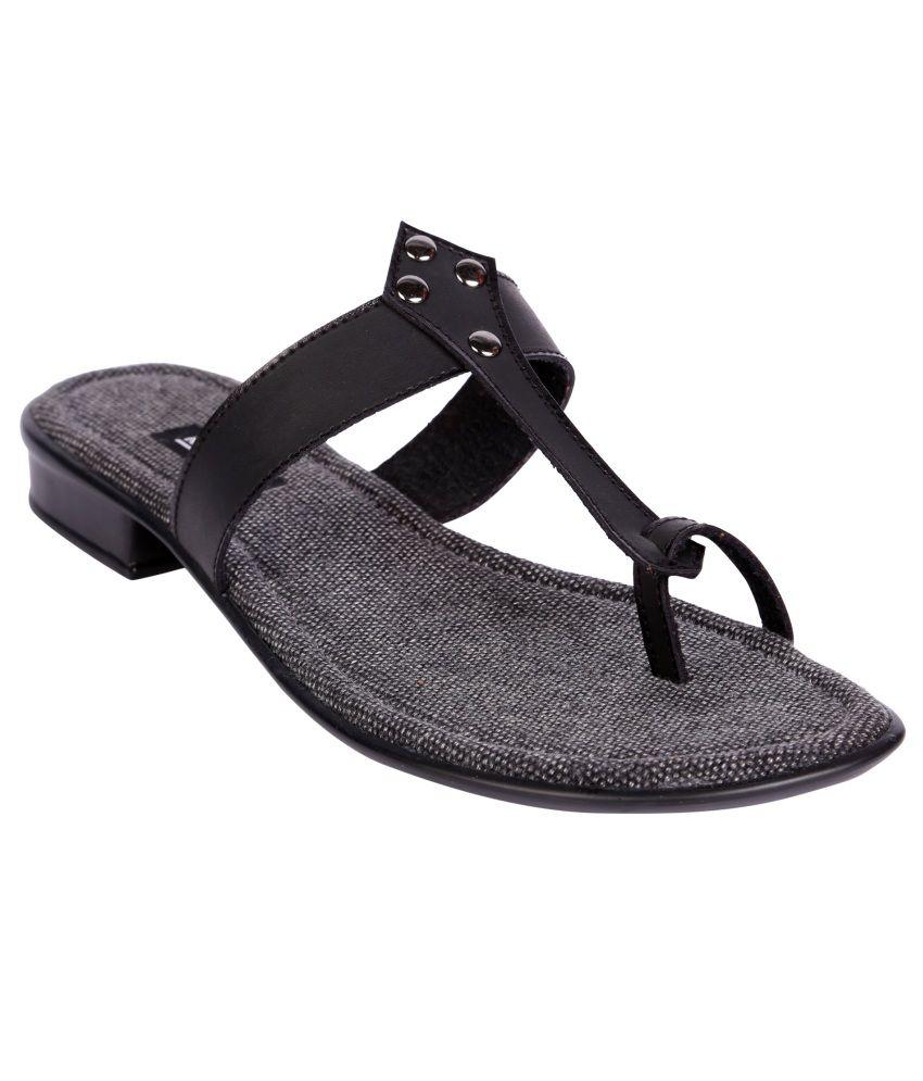 Karizma Black Faux Leather Open Toe Flat Slip-ons