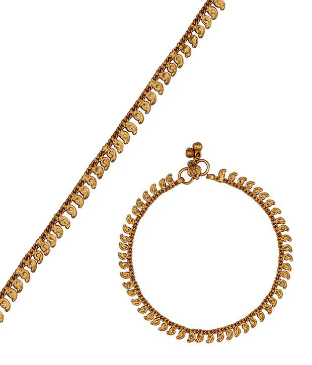 Kushi Attactive Pair Of Plain Gold Plated Anklets