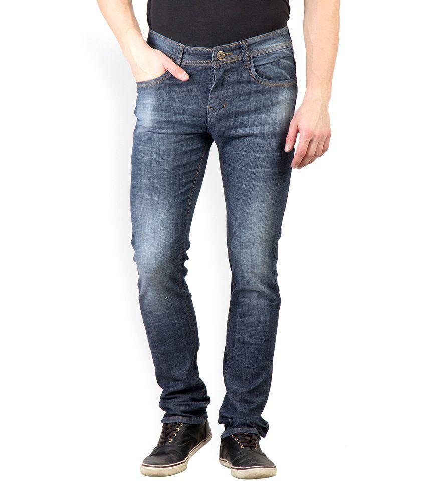 Rodamo Black Cotton Faded Slim Fit Jeans