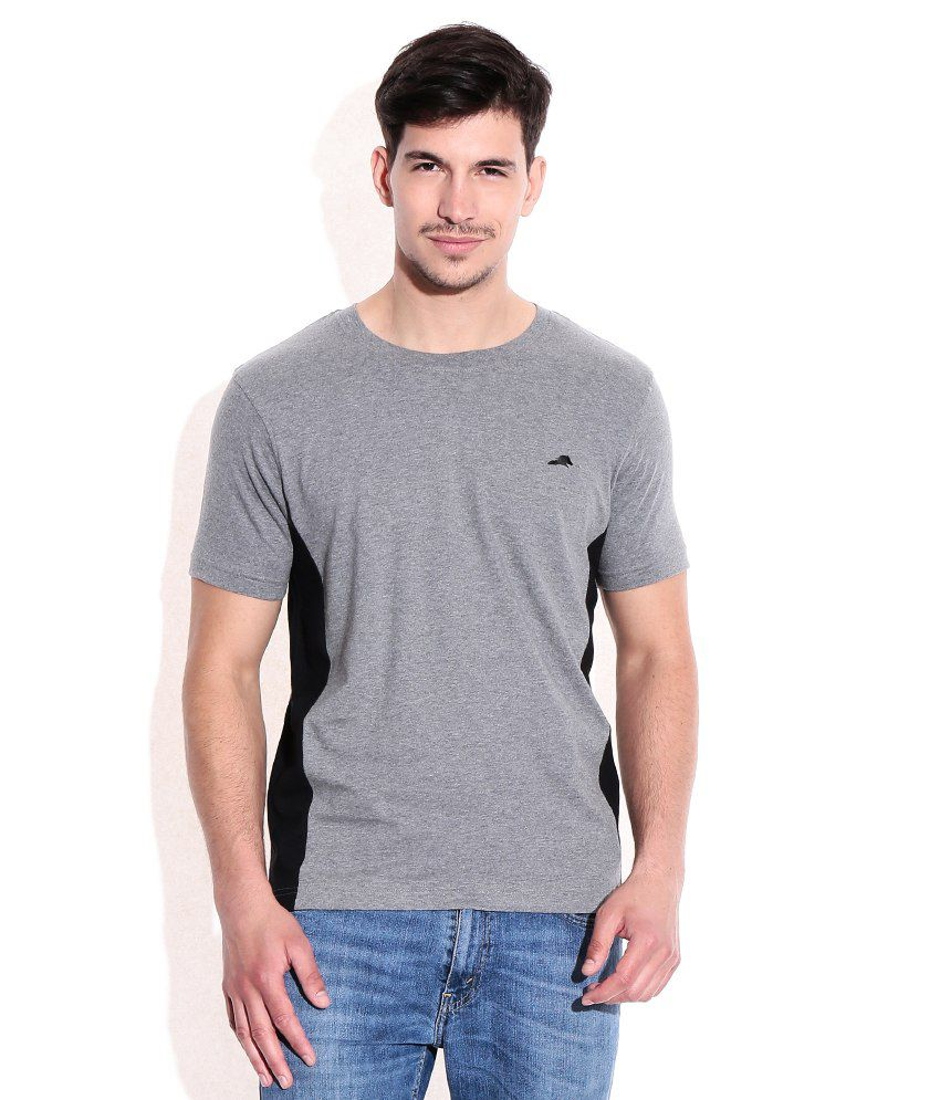 2go Gray Cotton Round Neck T-Shrits