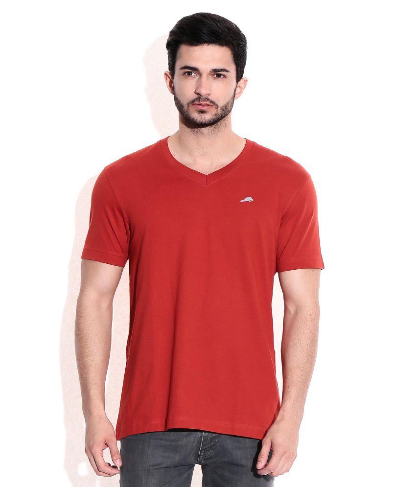 2go Red Cotton V-Neck T-Shrits
