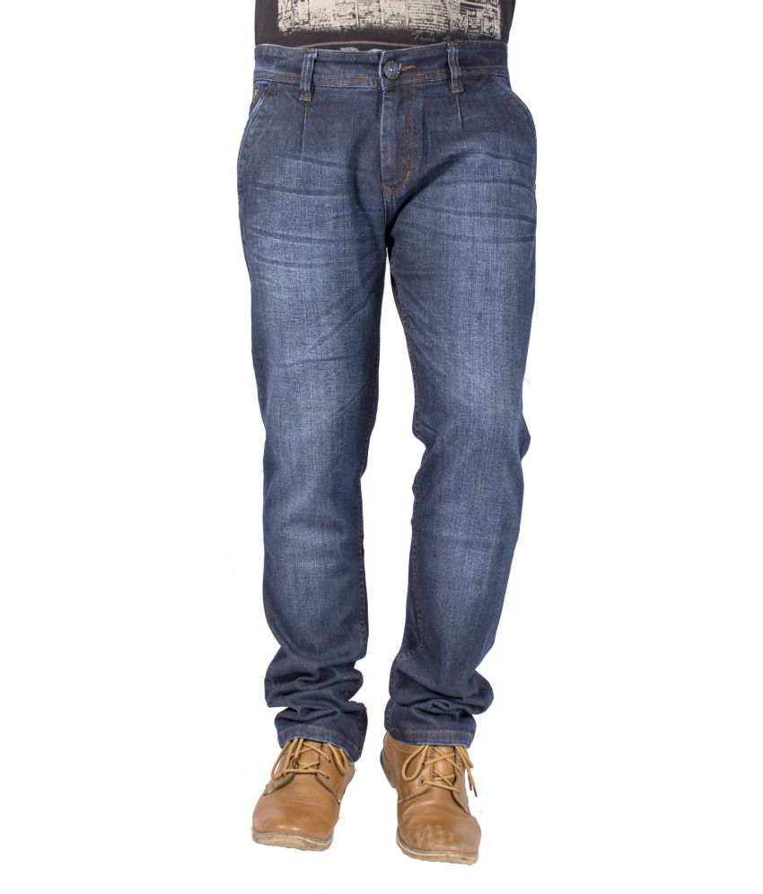 FBM Blue Cotton Blend Jeans For Men