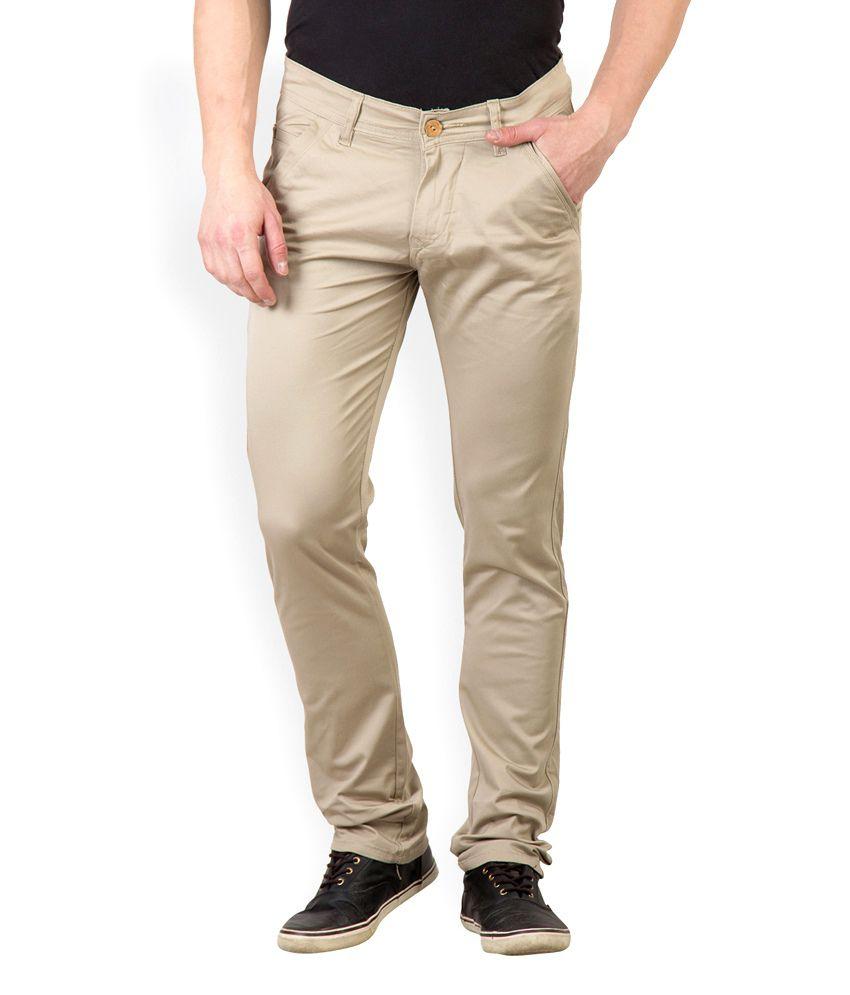 Rodamo Beige Cotton Lycra Slim Fit Chinos Trouser