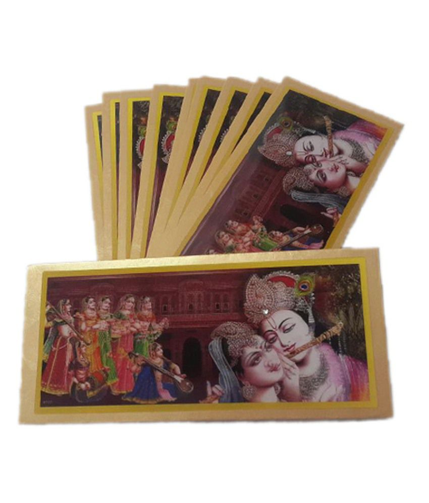 A'la Mode Creation 3D Yellow color Radha Krishna Shagun Envelope (Set of 10 pieces and compatible with a note of Rs 1000)