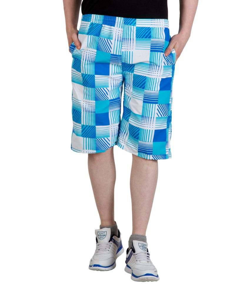 Camey Blue Polyester Shorts