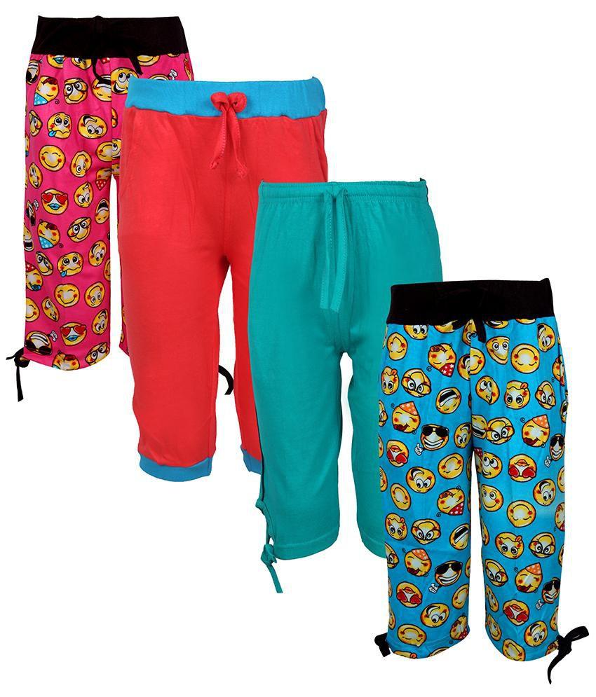 Jazzup Multicolour Elastic Waist Cotton 3/4th Capri - Pack of 3