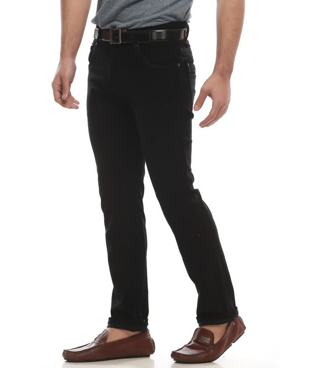 Jogur Black Cotton Blend Casual Trouser