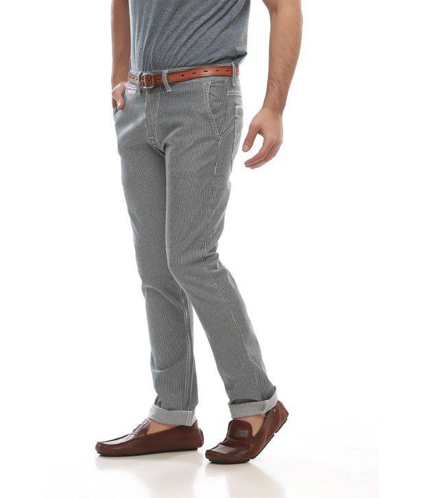 Jogur Blue Cotton Blend Casual Trouser