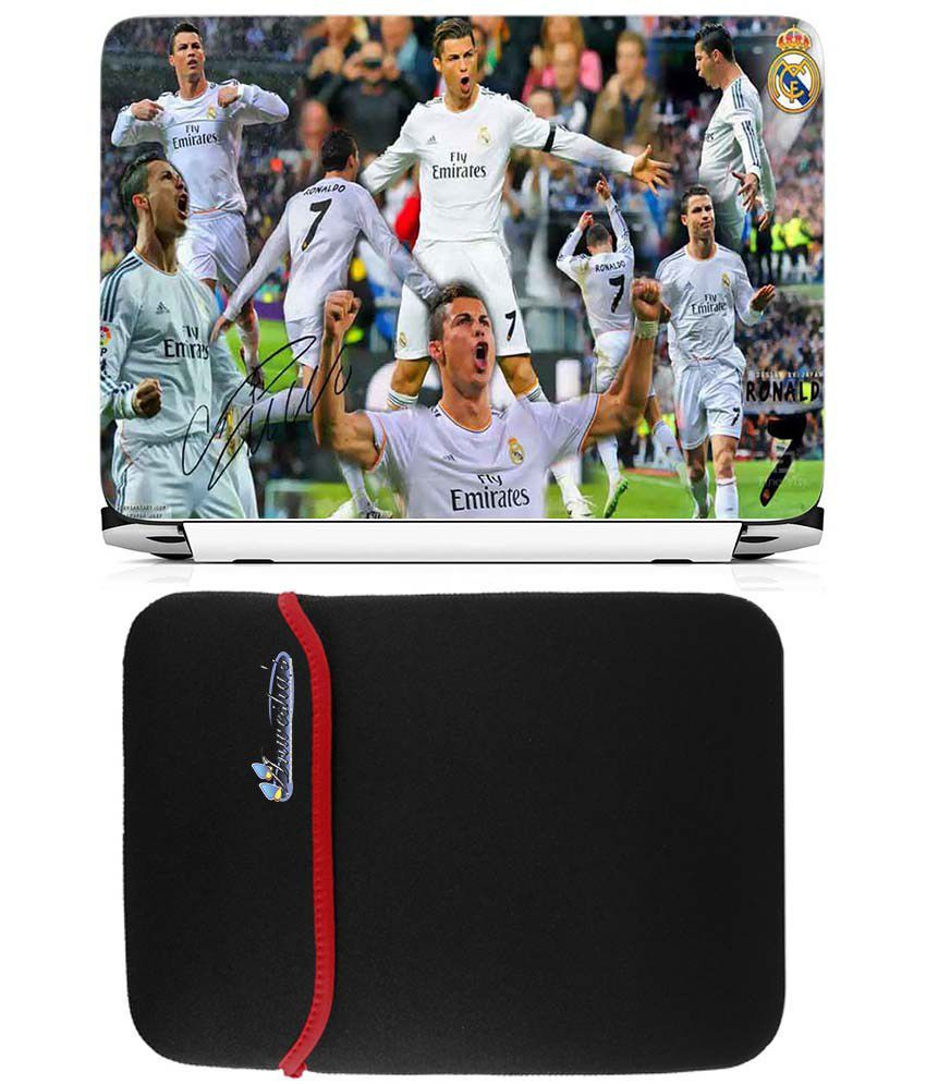 Anwesha's Reversible Laptop Sleeve With Laptop Skin 15.6 Inch - Ronaldo Fc