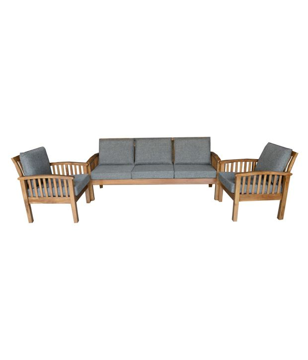 5 Seater Solid Wood Sofa Set With Linen Cushion 3 1 1 Buy 5