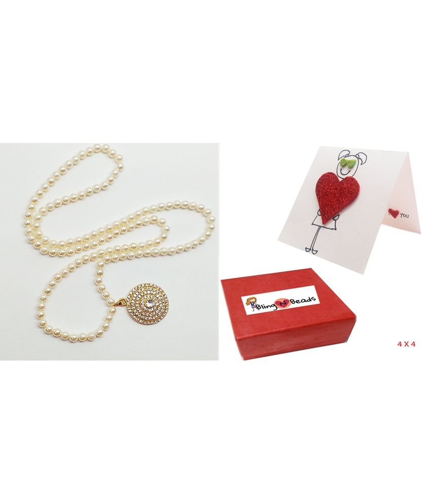 Bling N Beads White Pearl Necklace With Best Mom Card Gift for Mother