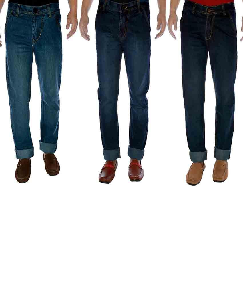 K-san Blue Cotton Regular Fit Jeans - Pack Of 3